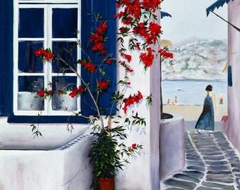 original painting of Mykonos, Greece