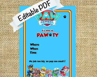 Paw Patrol Birthday Invitation - Digital