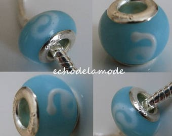 1 Charm blue blown glass Donut bead feature and opaque white