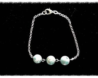 Bracelet silver chain, with beads