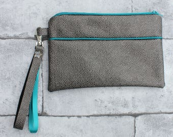 Clutch gray faux leather lined with peacock blue, with strap
