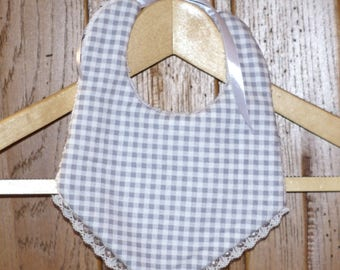 """bib knotted lace """"grey gingham"""""""