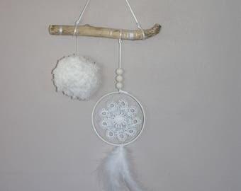 Driftwood silver dreamcatcher doily dream catcher feather tassel