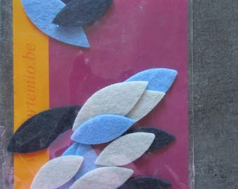 Set of 15 felt leaves for scrapbooking, card making, home decor - blue and white