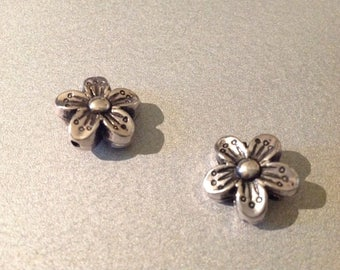 2 x beads silver spacer flower 15 mm - jewelry making