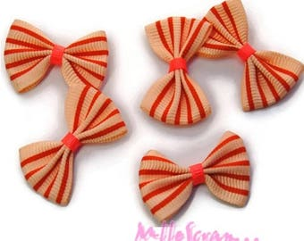 Set of 5 striped bows fabric orange embellishment scrapbooking card. *