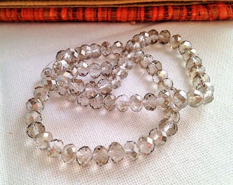 swarovski 6 x 4 mm silver grey faceted Crystal beads 10 style