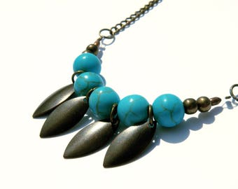 Necklace bronze Apache and Boho style turquoise beads