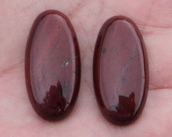 Brick red Jasper, set of 2 cabochons