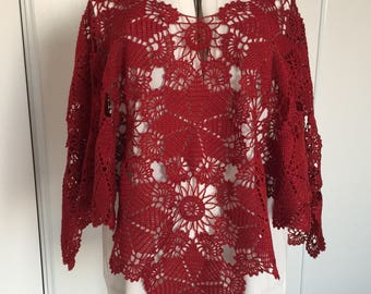 Red poncho hermes cotton Mercerized