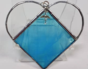 Stained Glass, MARCH Birthstone, Birthstone Heart, Aquamarine, Light Blue, Heart, Stained Glass Suncatcher, Handmade in USA