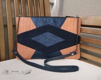 Pouch - Blue leather with small designs - Jeans and Glutter sequin handbag