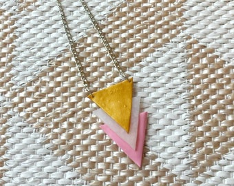 Pink, white, gold geometric triangle necklace