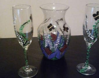 Painted vase and glass set