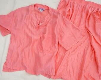 Vintage Silk Skirt Set