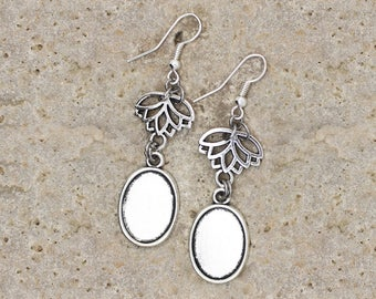 support cabochon oval 13 X 18 mm silver color earrings