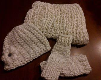 Hat, snood, Galaxy white fingerless gloves set