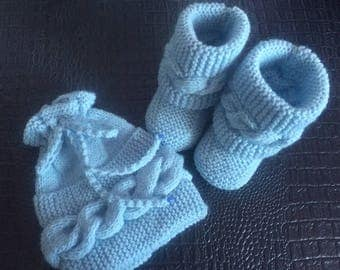 All boots and hat pattern blue braid