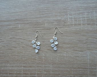 Buttons earrings white