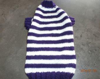 Purple and white striped dog coat