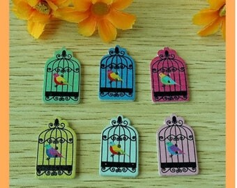 Set of 5 Bird Cage wooden buttons