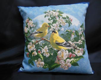 Cover birds pillow, two Canaries on pastel blue background (C287)