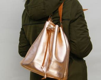 LEATHER BUCKET BAG metallic golden,Size large,Leather Shoulder Bag,Leather Bucket Purse, Made in Greece,Handmade bag