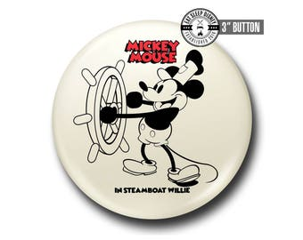 "Steamboat Willie - Mickey Mouse - 3"" Button"