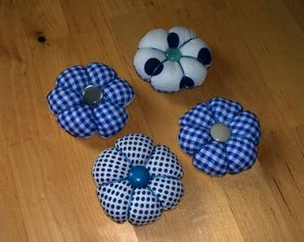 Set of 4 Japanese gingham and polka dot flowers