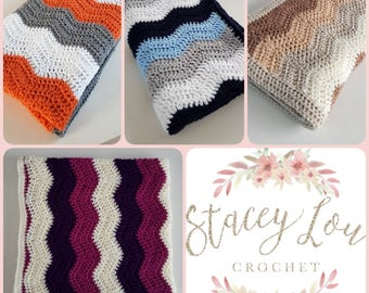 Ripple Blanket- Made to order. Crochet blanket made in colours of your choice