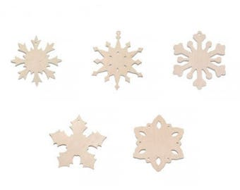 Wooden snowflake unfinished. Set of 5! Decor for a Christmas tree, wood standing decor, wood for decoupage, xmas decor, xmas tree toys