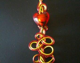 Aluminium wire glass heart pendant