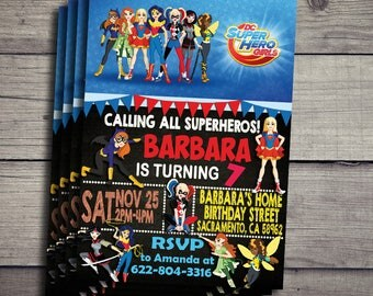 DC Superhero Girls Invitation, DC Superhero Girls Birthday Invidation, DC Superhero Girls Birthday Party Invite, Superhero Girls Printable
