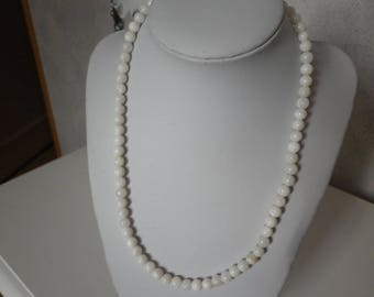 Necklace white 7mm pearl beads
