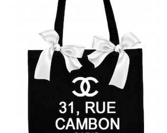 Tote bag black ribbons, 31 rue CAMBON Paris