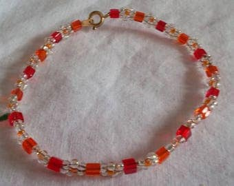 Crystal and orange Beads Bracelet