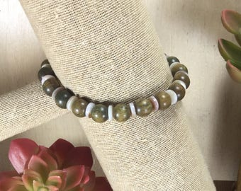 Sandalwood & Shell   Stretch Bracelet   Stacking Bracelet   Boho Bracelet   Crystal Bracelet   Healing Crystal Jewelry