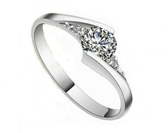 925 Genuine Silver Engagement Ring P1 - The First Love