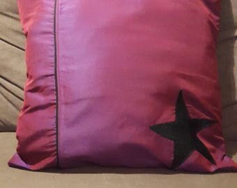 Pillow cover purple / Burgundy with bluish and star faux leather