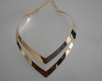 MULTISTRAND gold 120 mm x 40 mm metal Heart Necklace