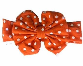 "5"" Boutique Bow Headband- Orange/White"