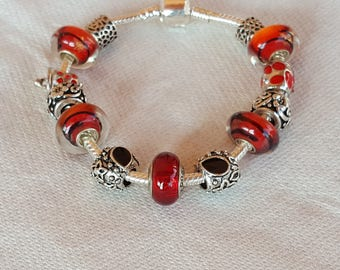 Pearl murano/red/Silver 925/glass/elegant/feminine/party/gift/pandora/unique/customizable/lampwork/mesh snake bracelet Vamp