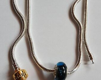 Necklace Bead murano Blue Berry / Silver 925/pandora/blue/glass/crystal/gem/party/crew neck/pendant/charm European/woman/mesh snake