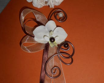 For the bride brooch - back train - ivory and chocolate