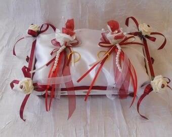 Burgundy and white wedding ring cushion