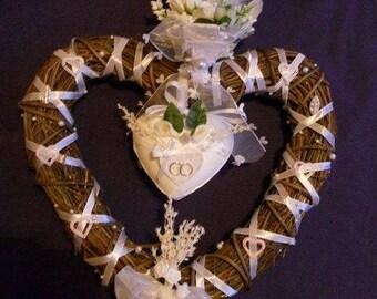 WICKER WOVEN heart wedding Deco