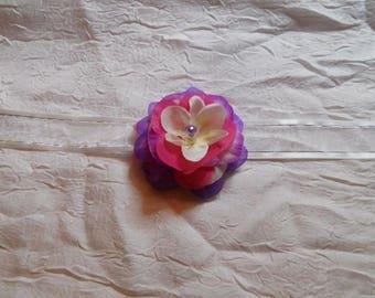 "Ribbon flower white /violet /fushia ""procession bracelet"