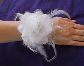 "white flower ""wedding procession"" Ribbon Bracelet"
