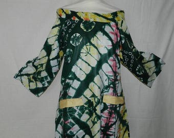 Green and yellow tunic ethnic double satin, with sleeves size 36-40