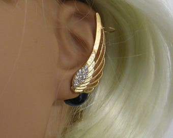 "Ear Cuff ""Black Pearl Gold Wing, double-sided"""